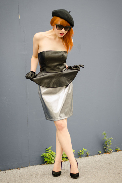 faux leather H&M dress - christian dior sunglasses - silver metallic H&M skirt