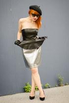 faux leather H&M dress - christian dior sunglasses - silver metallic H&M skirt