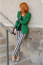 Green-geo-pattern-primark-blazer-black-christian-dior-sunglasses