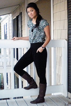 green a is for aubrey top - black Forever 21 pants - brown gianni bini boots