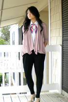 white The Limited blouse - pink sweater - black Forever 21 pants - beige apt 9 s