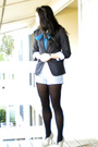Gray-bcbg-blazer-gray-shorts-black-tights-beige-colin-stuart-shoes-blue-