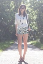 forest green PERSUNMALL bag - aquamarine floral PERSUNMALL shorts