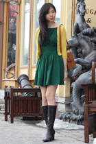 brown asos bag - dark brown boots - dark green dress - mustard cardigan