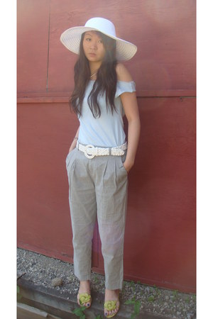 light blue American Apparel shirt - heather gray pants - chartreuse sandals