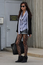 black H&M blazer - silver American Apparel scarf