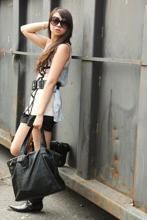 black boots - neutral Forever 21 shirt - black shorts - heather gray vest