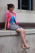 hot pink cardigan - heather gray skirt - blue top - eggshell pumps
