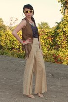 brown vest - dark khaki Anthropologie pants - charcoal gray top