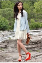 light blue denim American Eagle blouse - ivory Forever 21 dress