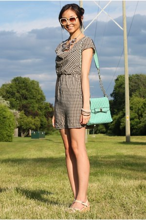 aquamarine Lulus bag - white houndstooth dress