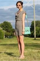 aquamarine Lulus bag - white houndstooth dress