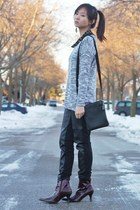 black pants - crimson boots - heather gray sweater - black studded blouse