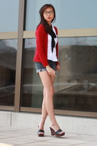 ruby red cardigan - white blouse - black tie