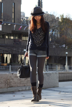 gray hat - dark brown boots - gray tights - navy Tommy Hilfiger cardigan