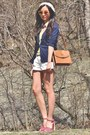 Brown-asos-bag-white-shorts-red-heels-yellow-top