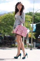 brown H&M skirt - pink bag - heather gray H&M cardigan - teal Guess pumps