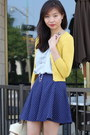 Yellow-cardigan-light-blue-top-navy-polka-dot-forever-21-skirt