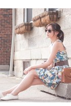 sky blue floral dress - burnt orange asos bag - white lace H&M sneakers