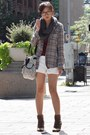 Gray-scarf-white-shorts-brown-heels-brick-red-t-shirt
