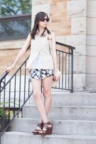 black floral Lovely wholesale shorts - beige chiffon necessary clothing blouse
