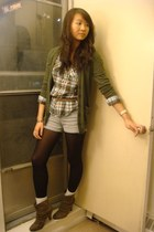 army green Sparkle and Fade cardigan - Forever 21 shirt - brown Forever 21 shoes