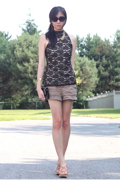 black lace top - black bag - light brown Forever 21 shorts - bronze wedges
