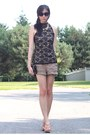Black-bag-light-brown-forever-21-shorts-black-lace-top-bronze-wedges