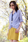 Light-blue-blouse-light-brown-boots-mustard-skirt