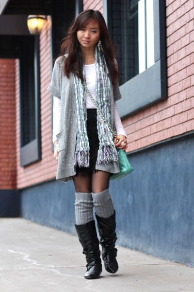 aquamarine bag - black boots - heather gray BCBG cardigan - white top