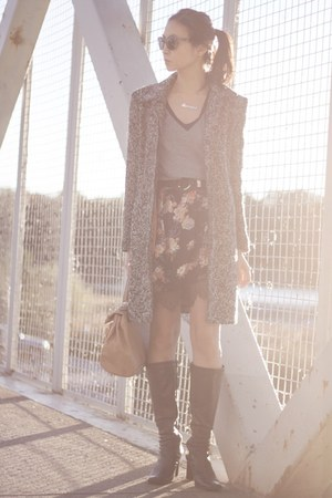 dark brown le chateau boots - black floral Sheinside dress - heather gray jacket