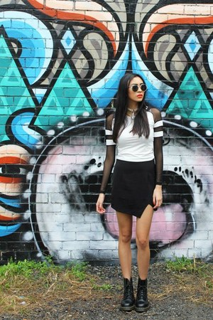 black boots doc martens boots - white sunglasses asos sunglasses