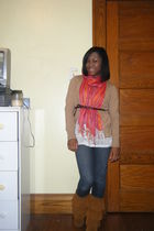 red scarf - brown boots - blue jeans - white shirt - beige cardigan