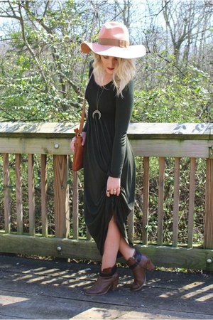 brown Nordstrom boots - army green MRena dress