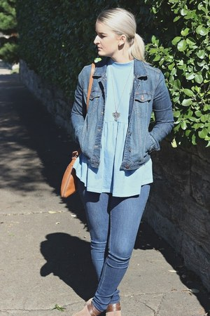 blue Forever21 jacket - tawny Hush Puppoes purse - light blue free people top
