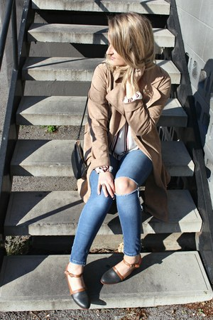 tawny Wolverine shoes - blue Zara jeans - tan Lulus jacket