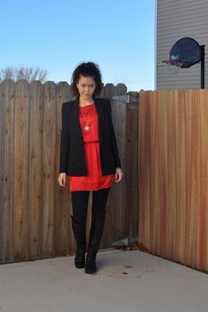 red Francescas Collections dress - black By Malene Birger blazer