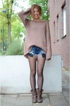 Topshop sweater - Zara boots - Zara shorts