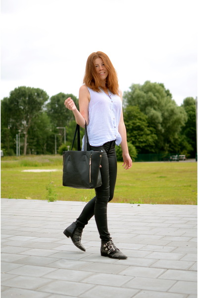 H&M pants - Sacha boots - romwe bag - H&M blouse