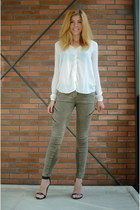 white Mango blouse - olive green Topshop jeans - black Nelly heels