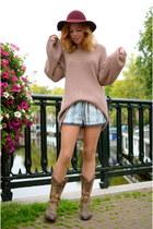 Sacha boots - H&M hat - Topshop sweater - Zara shorts
