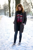 H&M coat - H&M jeans - Local store scarf - Converse flats