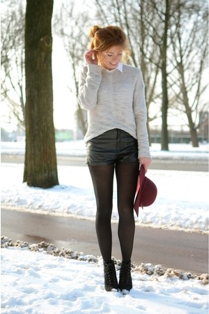 H&M hat - H&M sweater - H&M shorts - Nelly heels