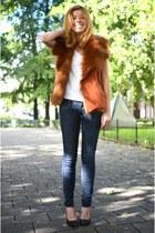 vintage vest - H&M jeans - Nelly heels