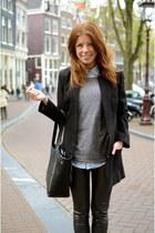 H&M coat - we sweater - romwe bag - H&M pants - H&M blouse