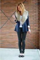 Zara blazer - H&M jeans - H&M scarf - new look flats