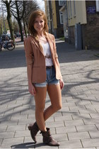 dark brown Zara boots - hot pink vintage blazer - blue levis vintage shorts - of