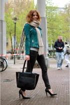 turquoise blue Mango jacket - black vintage jeans - beige H&M scarf