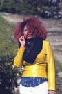Yellow-leather-vintage-jacket-black-h-m-scarf-silk-zara-blouse