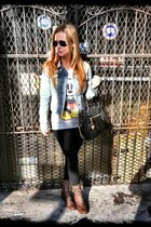denim jacket Levis jacket - black Michael Kors bag - aviator Ray Ban glasses